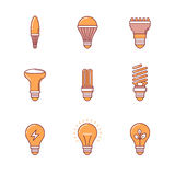 Light bulb icons thin line set Stock Image