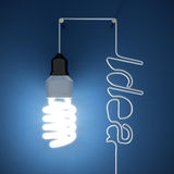 Light bulb idea. 3d render of light bulb idea concept on dark blue background Royalty Free Stock Photography