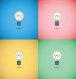 Light bulb idea on colorful background Royalty Free Stock Images