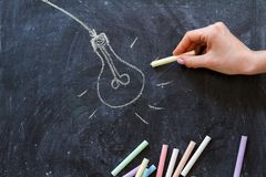 Light bulb, idea concept on chalkboard, Royalty Free Stock Photos