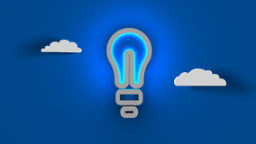 Light bulb idea. Concept of successful idea inspired by bulb shape on blue sky clouds background. 3d illustration. Set for design presentations. with bubbles. 3d Stock Photography
