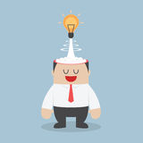 Light bulb of idea exploding from businessman head Royalty Free Stock Images