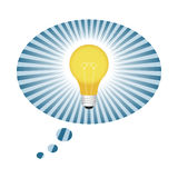 Light Bulb Idea. Illustration of Light Bulb Inside Thought Balloon Royalty Free Stock Photos