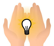 Light bulb idea in hands Royalty Free Stock Images