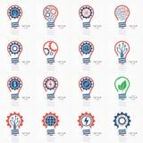 Light bulb idea icon set Stock Images
