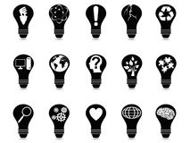 Light bulb idea icons set Stock Photos