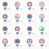 Light bulb idea icons set. Stock Photo