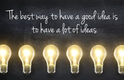Light bulb with idea quote. Light bulb lamps on blackboard background with idea quote Stock Photos