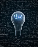 Light bulb with idea text Royalty Free Stock Image