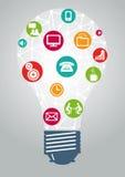 Light bulb ideas and communication Stock Photos