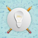 Light bulb ideas concept with doodles icons set stock illustration