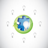 Light bulb ideas and puzzle pieces illustration Stock Photography