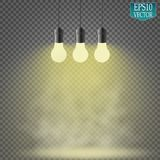 Light bulb illuminated, realistic vector illustration. Royalty Free Stock Images