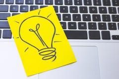 Light bulb image on a keyboard royalty free stock image