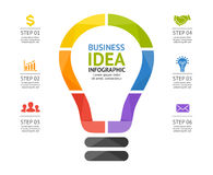 Light bulb infographic. Template for circle diagram, graph, presentation and round chart. Business startup idea lamp Stock Photos