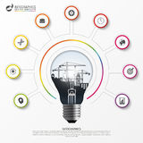 Light bulb infographic. Template for circle diagram. Vector Royalty Free Stock Image