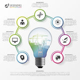 Light bulb infographic. Template for circle diagram. Vector Stock Photos
