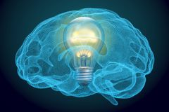 Light bulb inside brain, idea concept. 3D. Rendering Stock Photos
