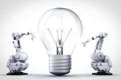 Light bulb invention. Concept with 3d rendering robotic arm and light bulb Stock Photo