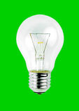 Light bulb isolated on green background Stock Images