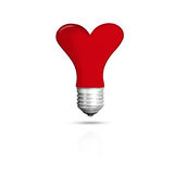 Light bulb isolated red love heart , Realistic photo image Royalty Free Stock Photo