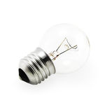 Light Bulb (isolated on white). Close-up of a clear light bulb on a white background Royalty Free Stock Photos