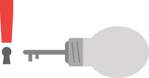 Light bulb with key and exclamation mark keyhole Royalty Free Stock Photo
