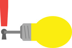 Light bulb with key and exclamation mark keyhole Royalty Free Stock Photography