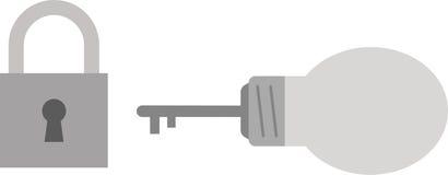 Light bulb with key and padlock Royalty Free Stock Photos
