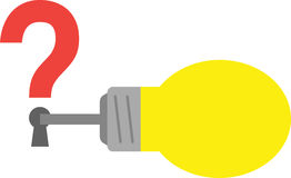 Light bulb with key and question mark keyhole Royalty Free Stock Photo