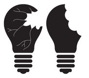 Light Bulb - Killing, Smashing, Shattering, Breaking, destroying, Stealing good idea concept. Vector icon Stock Images