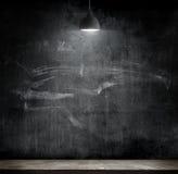 Light bulb lamp on blackboard background Royalty Free Stock Images