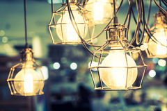 Light bulb lamp. Soft focus on light bulb lamp decoration interior of room - vintage filter Royalty Free Stock Images