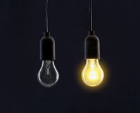 Light bulb lamps on black Stock Photo