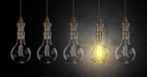 Light bulb lamps. 3D rendering. Light bulb lamps on a brick wall background. 3D rendering Stock Photography