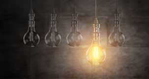 Light bulb lamps. 3D rendering. Light bulb lamps on a colour background. 3D rendering Royalty Free Stock Photo