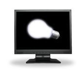 Light bulb in lcd screen. White light bulb in lcd screen isolated on white Royalty Free Stock Photos