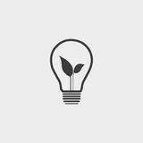 Light bulb and leaf icon in a flat design in black color. Vector illustration eps10 Royalty Free Stock Photography