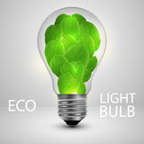 Light bulb with leafs ecology concept. Vector illustration Stock Photo