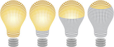 Light bulb level. Different light bulb level halftone texture Royalty Free Stock Photos