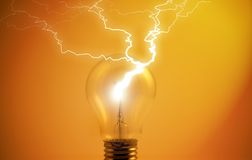 Light-bulb with lightning Stock Image