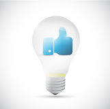 Light bulb and like hand illustration design Royalty Free Stock Photos