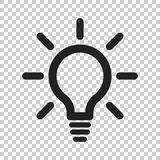 Light bulb line icon vector. Electric lamp in flat style. Idea s. Ign, solution, thinking concept Stock Image