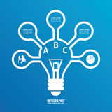 Light bulb line infographics options banner. Stock Images