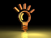 Light bulb lit. Light bulb is lit. This is a symbol reminiscent of the idea Royalty Free Stock Photos