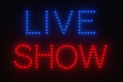 Light bulb - live show sign Royalty Free Stock Image