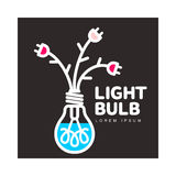 Light bulb logo with flowers formed by cables and plugs Royalty Free Stock Images