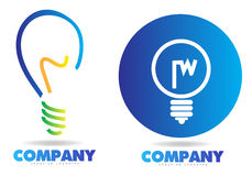 Light bulb logo. Set with 3d look Stock Photography