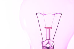 Light bulb macro with the filament wire and construction artisti Royalty Free Stock Photo