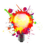 Light bulb made of colorful grunge splashes Stock Photo